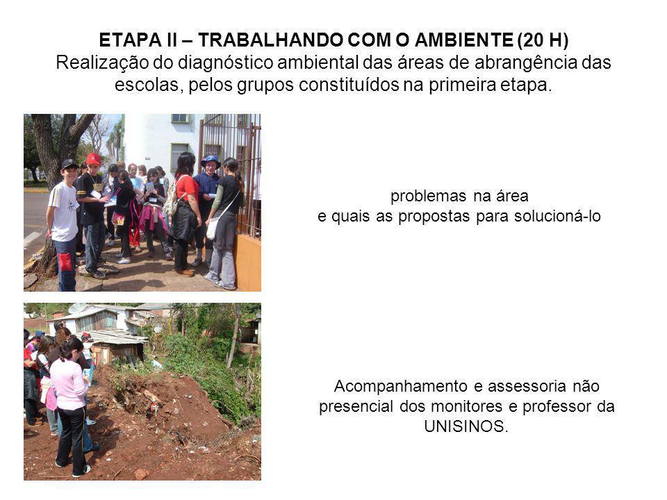 ETAPA II – TRABALHANDO COM O AMBIENTE (20 H) Realização do diagnóstico ambiental das áreas de abrangência das escolas, pelos grupos constituídos na pr