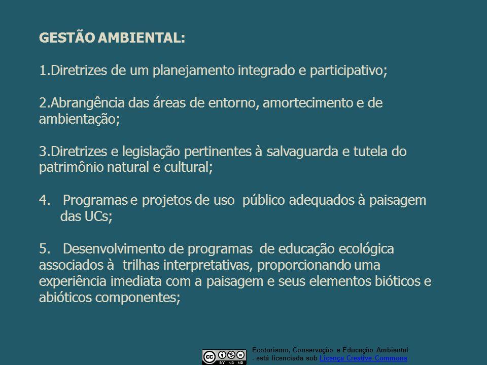GESTÃO AMBIENTAL: 1.Diretrizes de um planejamento integrado e participativo; 2.Abrangência das áreas de entorno, amortecimento e de ambientação; 3.Dir