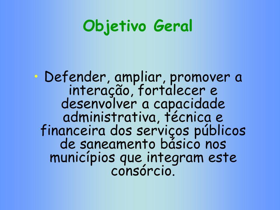Objetivo Geral Defender, ampliar, promover a interação, fortalecer e desenvolver a capacidade administrativa, técnica e financeira dos serviços públic