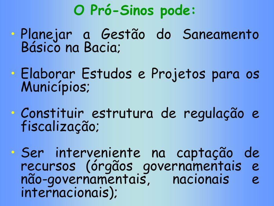 O Pró-Sinos pode: Planejar a Gestão do Saneamento Básico na Bacia; Elaborar Estudos e Projetos para os Municípios; Constituir estrutura de regulação e