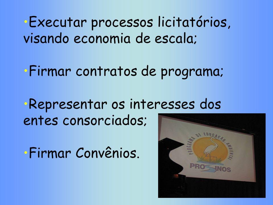 Executar processos licitatórios, visando economia de escala; Firmar contratos de programa; Representar os interesses dos entes consorciados; Firmar Co