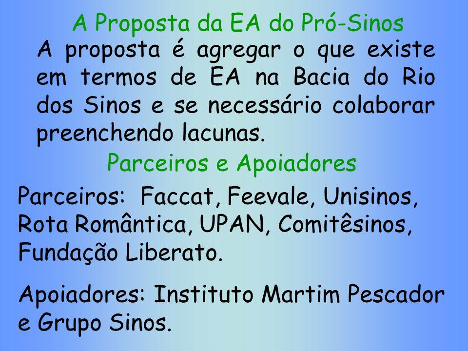 A Proposta da EA do Pró-Sinos A proposta é agregar o que existe em termos de EA na Bacia do Rio dos Sinos e se necessário colaborar preenchendo lacuna