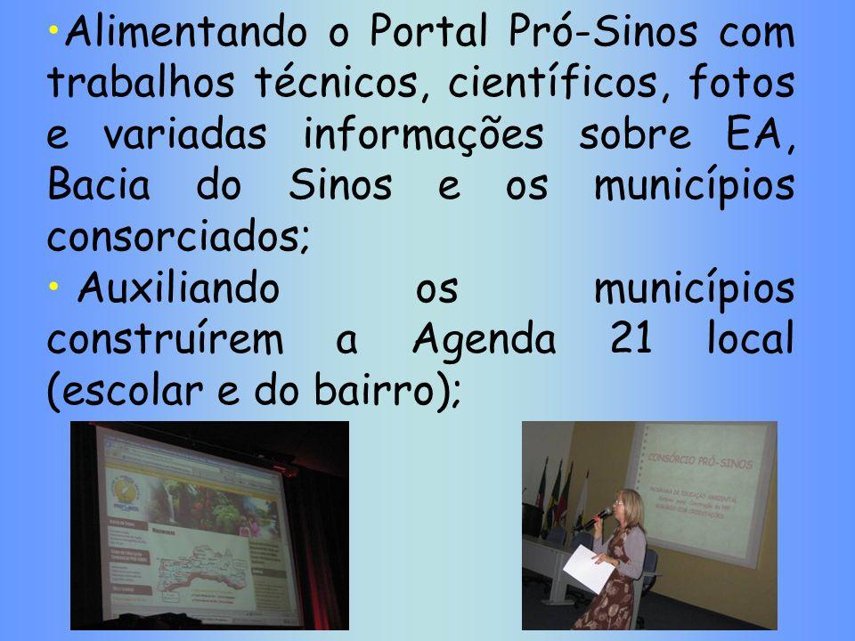 Alimentando o Portal Pró-Sinos com trabalhos técnicos, científicos, fotos e variadas informações sobre EA, Bacia do Sinos e os municípios consorciados