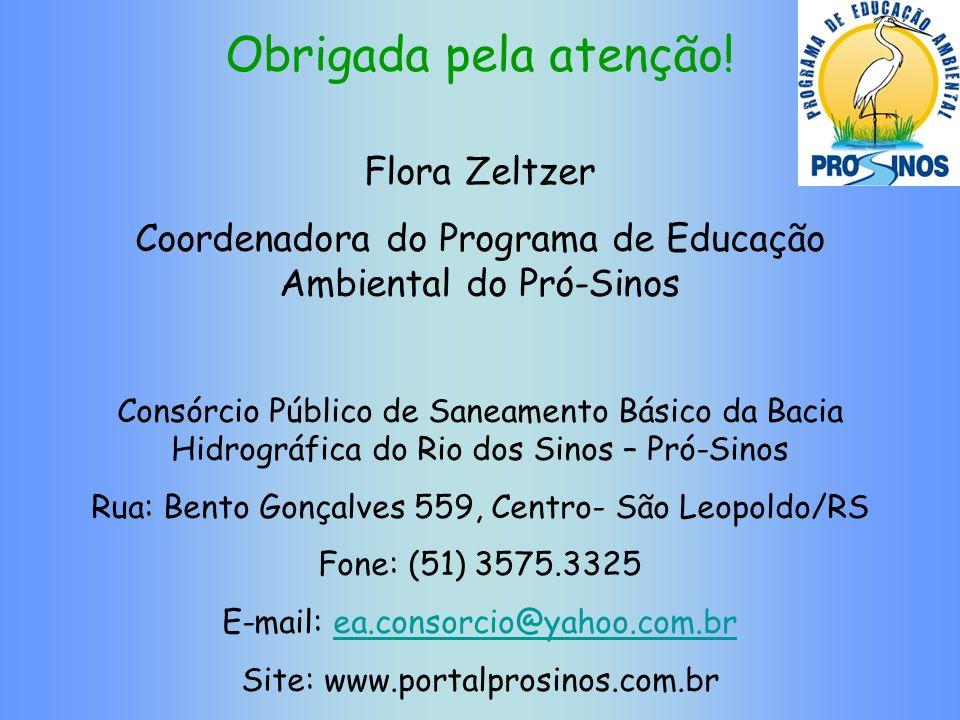 Obrigada pela atenção! Flora Zeltzer Coordenadora do Programa de Educação Ambiental do Pró-Sinos Consórcio Público de Saneamento Básico da Bacia Hidro