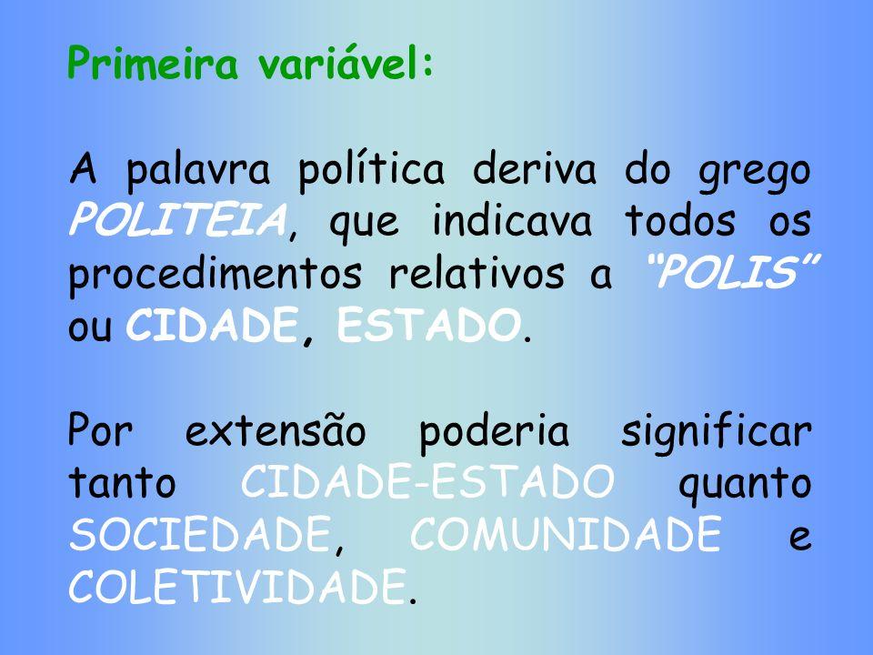 Primeira variável: A palavra política deriva do grego POLITEIA, que indicava todos os procedimentos relativos a POLIS ou CIDADE, ESTADO. Por extensão
