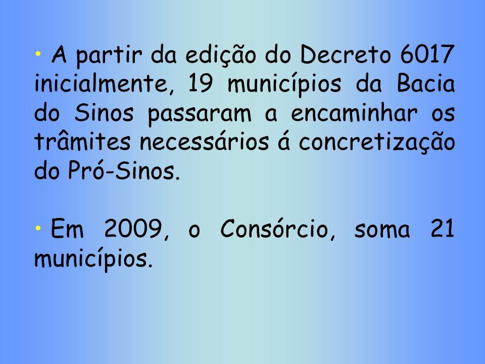A partir da edição do Decreto 6017 inicialmente, 19 municípios da Bacia do Sinos passaram a encaminhar os trâmites necessários á concretização do Pró-