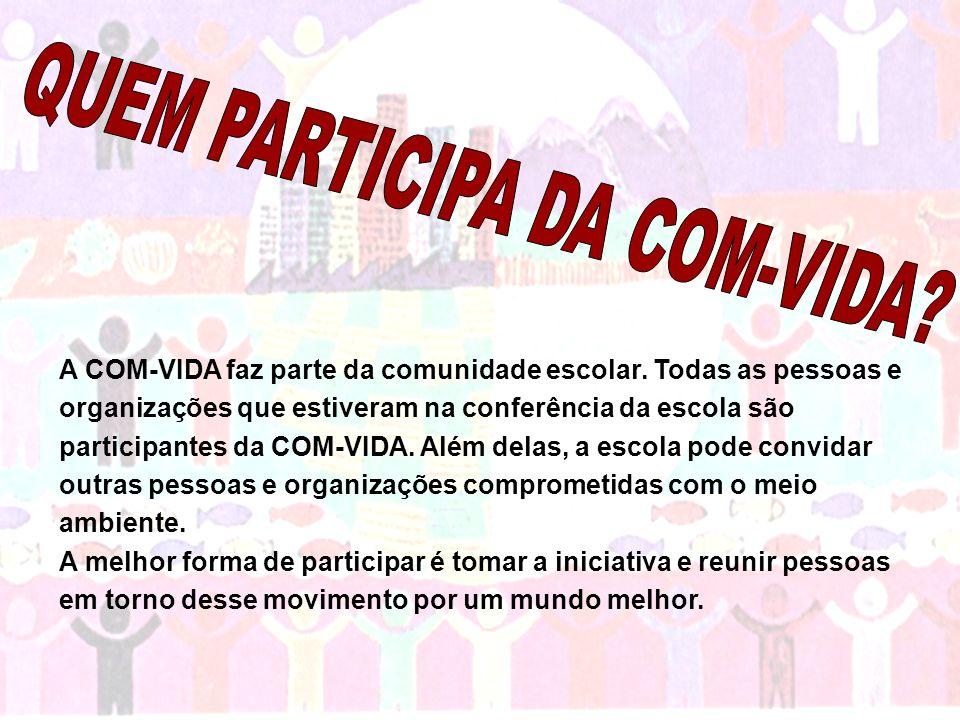 A COM-VIDA faz parte da comunidade escolar. Todas as pessoas e organizações que estiveram na conferência da escola são participantes da COM-VIDA. Além