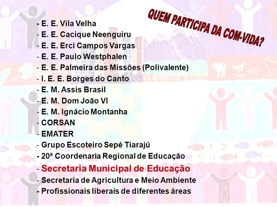 - E. E. Vila Velha - E. E. Cacique Neenguiru - E. E. Erci Campos Vargas - E. E. Paulo Westphalen - E. E. Palmeira das Missões (Polivalente) - I. E. E.