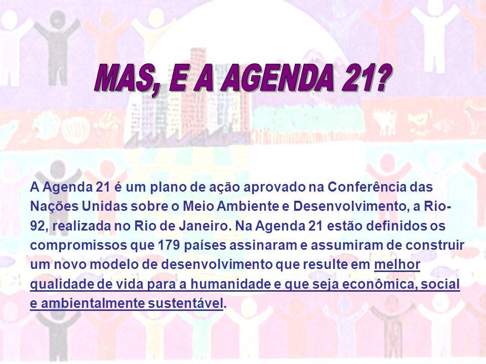 A Agenda 21 é um plano de ação aprovado na Conferência das Nações Unidas sobre o Meio Ambiente e Desenvolvimento, a Rio- 92, realizada no Rio de Janei