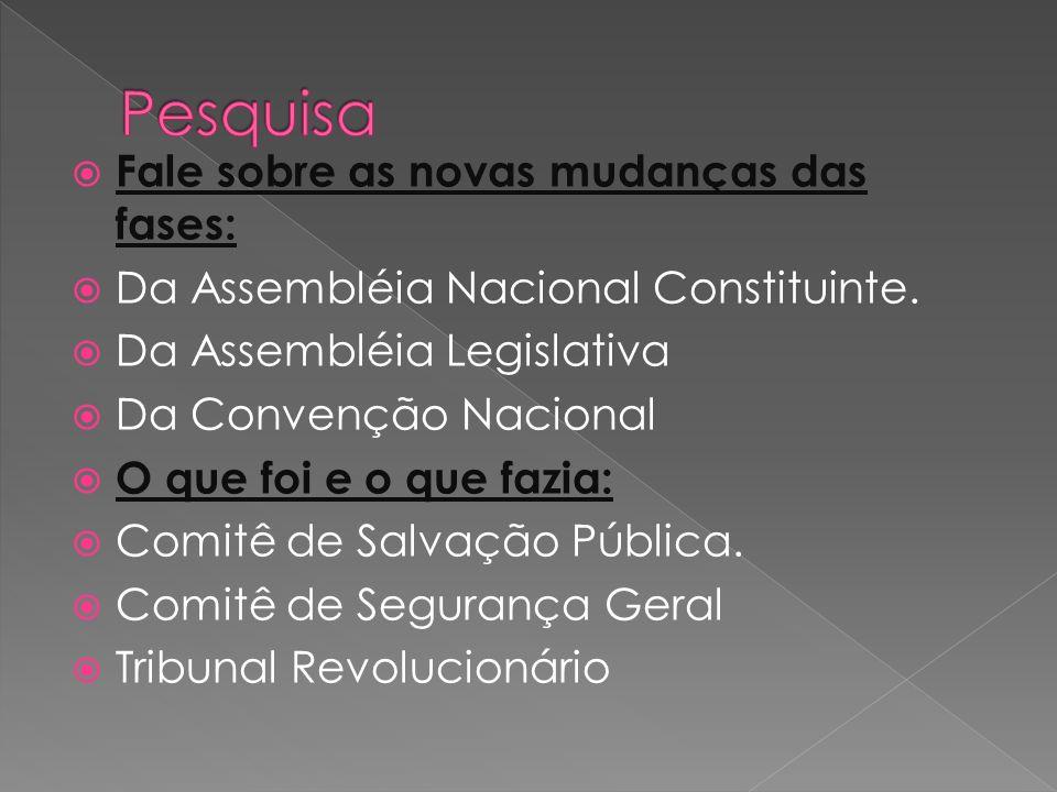 Fale sobre as novas mudanças das fases: Da Assembléia Nacional Constituinte. Da Assembléia Legislativa Da Convenção Nacional O que foi e o que fazia: