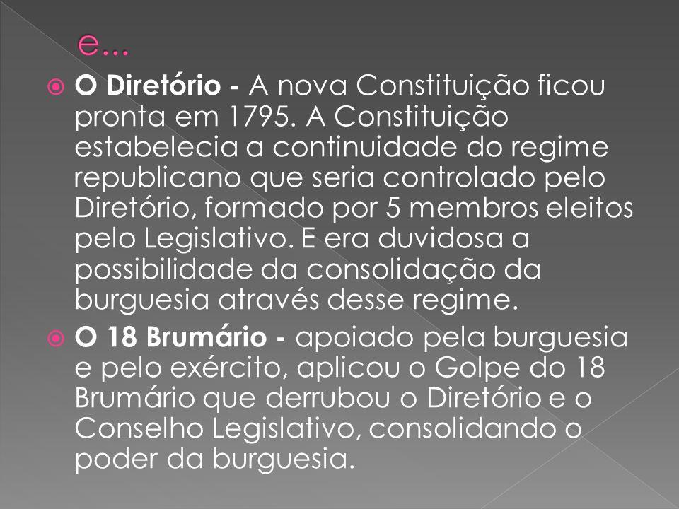 O Diretório - A nova Constituição ficou pronta em 1795. A Constituição estabelecia a continuidade do regime republicano que seria controlado pelo Dire
