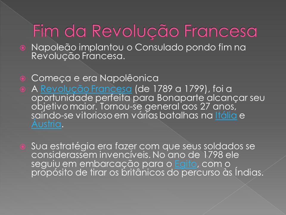 Napoleão implantou o Consulado pondo fim na Revolução Francesa. Começa e era Napolêonica A Revolução Francesa (de 1789 a 1799), foi a oportunidade per