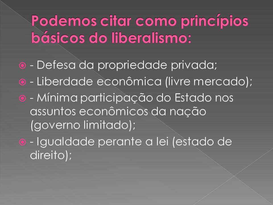 - Defesa da propriedade privada; - Liberdade econômica (livre mercado); - Mínima participação do Estado nos assuntos econômicos da nação (governo limi