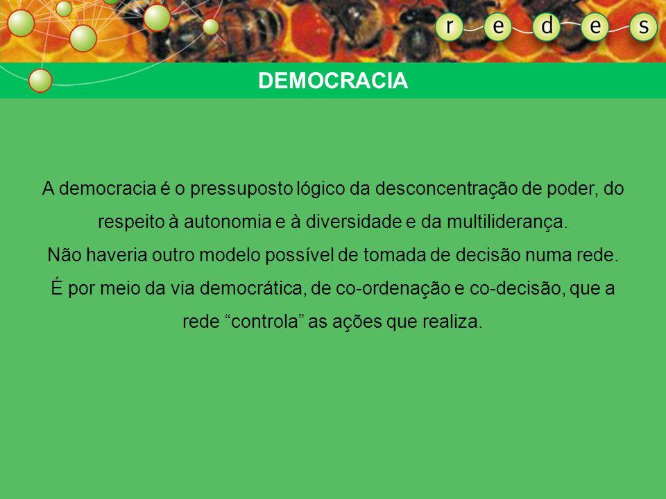 DEMOCRACIA A democracia é o pressuposto lógico da desconcentração de poder, do respeito à autonomia e à diversidade e da multiliderança. Não haveria o