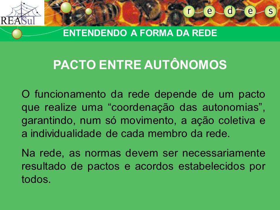 O funcionamento da rede depende de um pacto que realize uma coordenação das autonomias, garantindo, num só movimento, a ação coletiva e a individualid