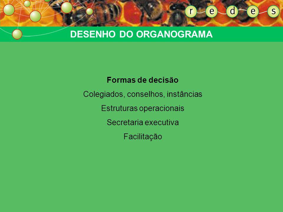 DESENHO DO ORGANOGRAMA Formas de decisão Colegiados, conselhos, instâncias Estruturas operacionais Secretaria executiva Facilitação