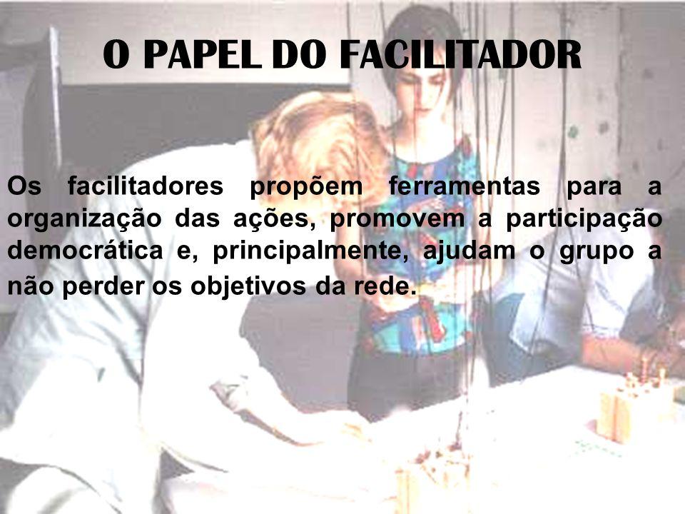 O PAPEL DO FACILITADOR Os facilitadores propõem ferramentas para a organização das ações, promovem a participação democrática e, principalmente, ajuda