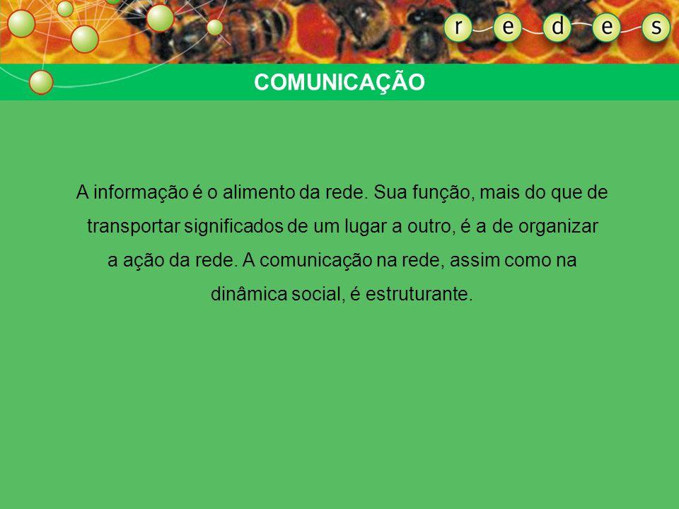 COMUNICAÇÃO A informação é o alimento da rede. Sua função, mais do que de transportar significados de um lugar a outro, é a de organizar a ação da red