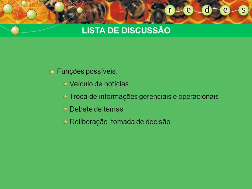 LISTA DE DISCUSSÃO Funções possíveis: Veículo de notícias Troca de informações gerenciais e operacionais Debate de temas Deliberação, tomada de decisã