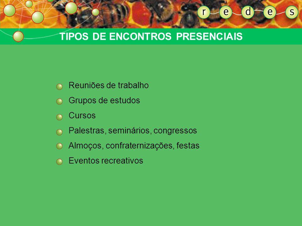 TIPOS DE ENCONTROS PRESENCIAIS Reuniões de trabalho Grupos de estudos Cursos Palestras, seminários, congressos Almoços, confraternizações, festas Even
