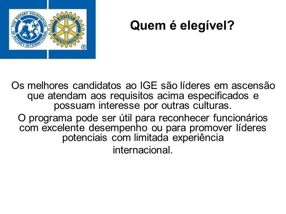 Os melhores candidatos ao IGE são líderes em ascensão que atendam aos requisitos acima especificados e possuam interesse por outras culturas. O progra
