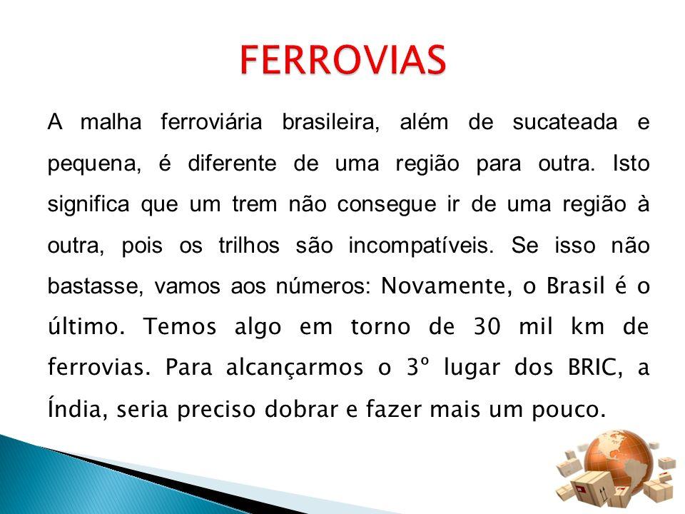 A malha ferroviária brasileira, além de sucateada e pequena, é diferente de uma região para outra. Isto significa que um trem não consegue ir de uma r