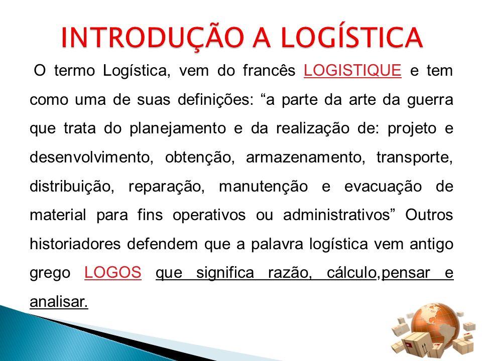 O termo Logística, vem do francês LOGISTIQUE e tem como uma de suas definições: a parte da arte da guerra que trata do planejamento e da realização de