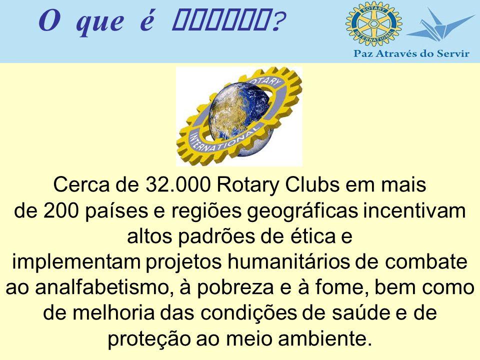 Cerca de 32.000 Rotary Clubs em mais de 200 países e regiões geográficas incentivam altos padrões de ética e implementam projetos humanitários de comb