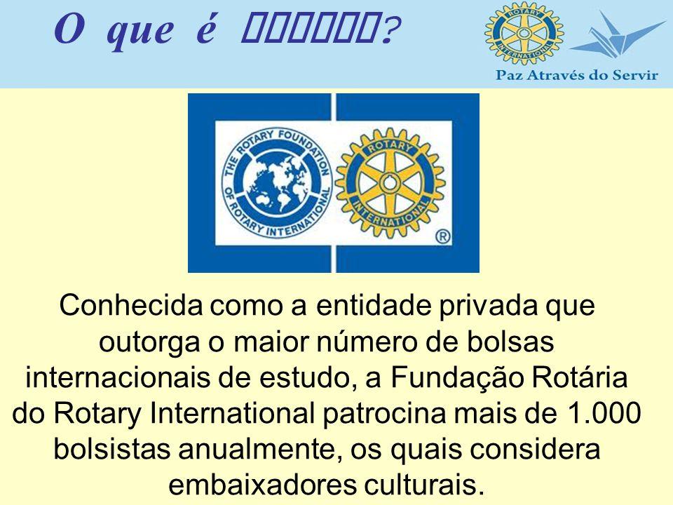 Conhecida como a entidade privada que outorga o maior número de bolsas internacionais de estudo, a Fundação Rotária do Rotary International patrocina