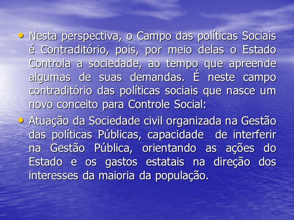 Nesta perspectiva, o Campo das políticas Sociais é Contraditório, pois, por meio delas o Estado Controla a sociedade, ao tempo que apreende algumas de suas demandas.