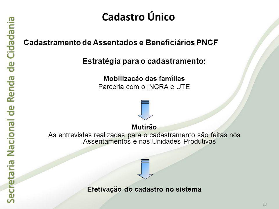 Secretaria Nacional de Renda de Cidadania Secretaria Nacional de Renda de Cidadania 10 Cadastramento de Assentados e Beneficiários PNCF Estratégia par
