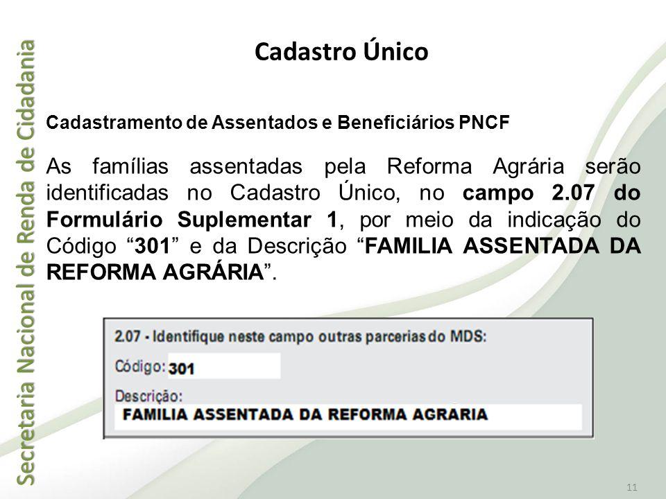 Secretaria Nacional de Renda de Cidadania Secretaria Nacional de Renda de Cidadania 11 Cadastramento de Assentados e Beneficiários PNCF As famílias as