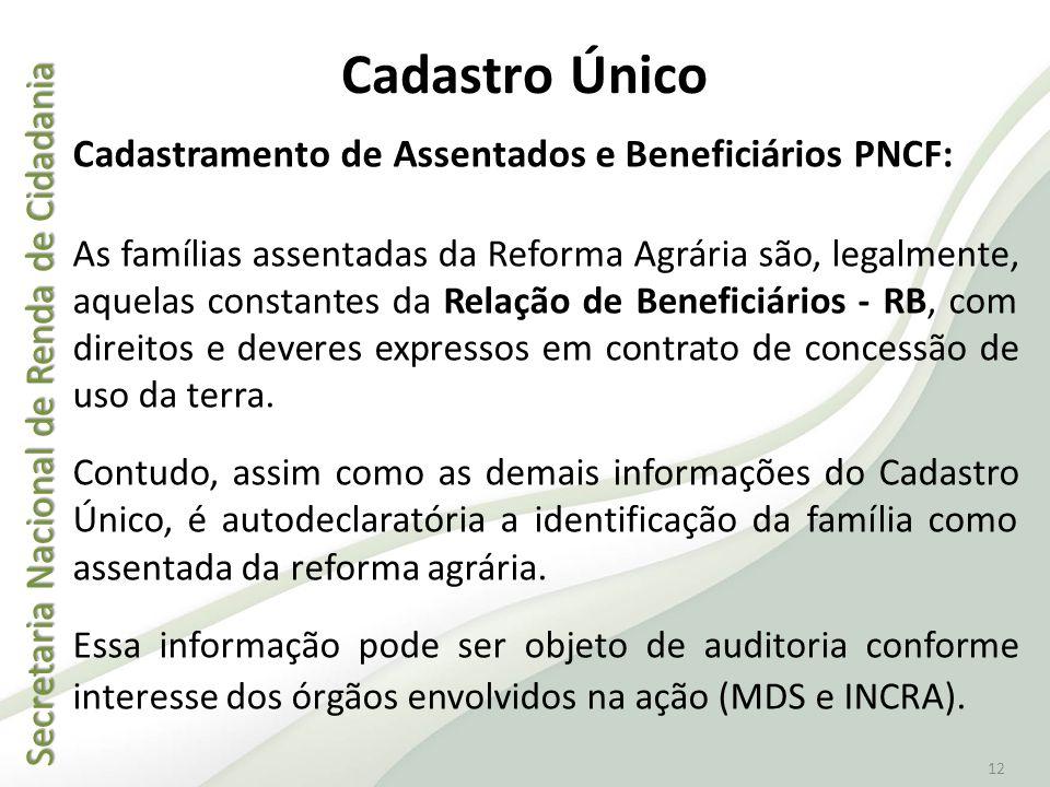 Secretaria Nacional de Renda de Cidadania Secretaria Nacional de Renda de Cidadania 12 Cadastro Único Cadastramento de Assentados e Beneficiários PNCF