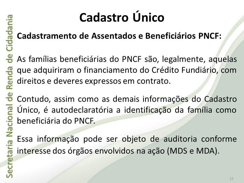 Secretaria Nacional de Renda de Cidadania Secretaria Nacional de Renda de Cidadania 15 Cadastro Único Cadastramento de Assentados e Beneficiários PNCF