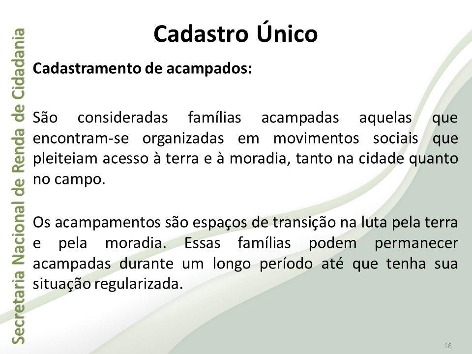Secretaria Nacional de Renda de Cidadania Secretaria Nacional de Renda de Cidadania 18 Cadastro Único Cadastramento de acampados: São consideradas fam