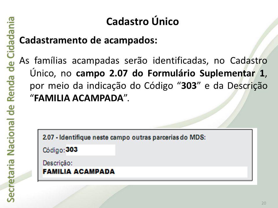 Secretaria Nacional de Renda de Cidadania Secretaria Nacional de Renda de Cidadania 20 Cadastramento de acampados: As famílias acampadas serão identif