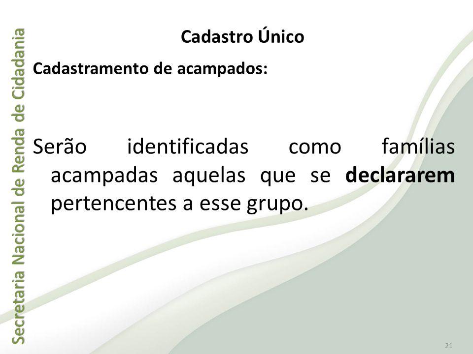 Secretaria Nacional de Renda de Cidadania Secretaria Nacional de Renda de Cidadania 21 Cadastramento de acampados: Serão identificadas como famílias a