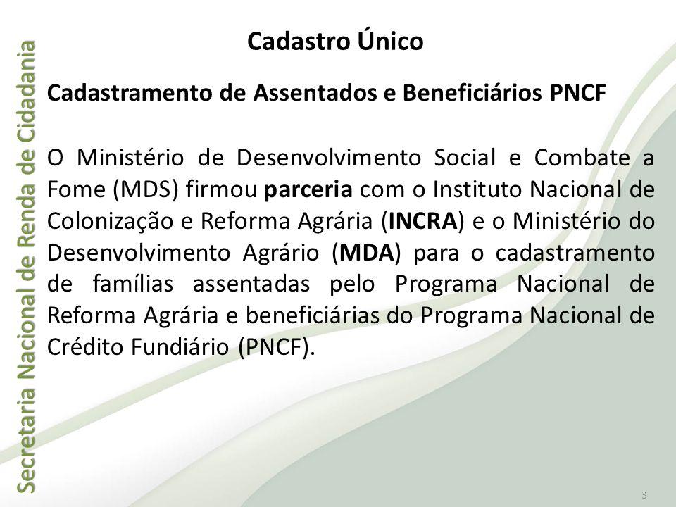 Secretaria Nacional de Renda de Cidadania Secretaria Nacional de Renda de Cidadania 3 Cadastramento de Assentados e Beneficiários PNCF O Ministério de