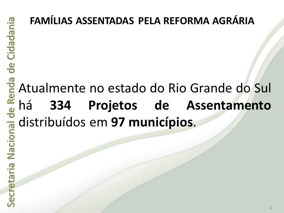Secretaria Nacional de Renda de Cidadania Secretaria Nacional de Renda de Cidadania 4 Atualmente no estado do Rio Grande do Sul há 334 Projetos de Ass
