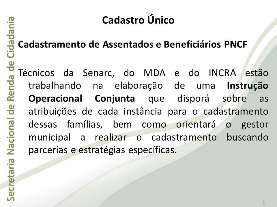 Secretaria Nacional de Renda de Cidadania Secretaria Nacional de Renda de Cidadania 5 Cadastramento de Assentados e Beneficiários PNCF Técnicos da Sen
