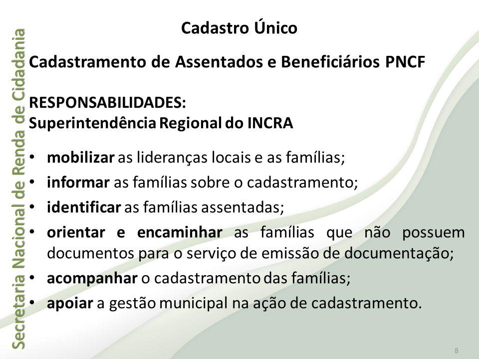 Secretaria Nacional de Renda de Cidadania Secretaria Nacional de Renda de Cidadania 8 Cadastramento de Assentados e Beneficiários PNCF RESPONSABILIDAD