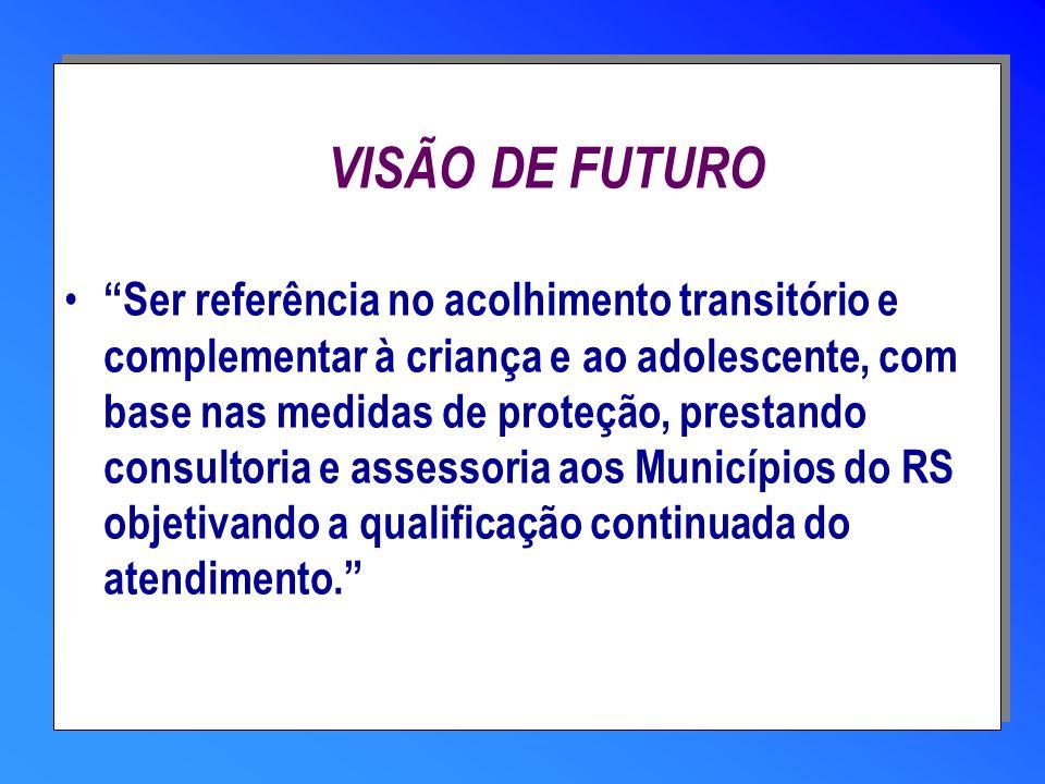 VISÃO DE FUTURO Ser referência no acolhimento transitório e complementar à criança e ao adolescente, com base nas medidas de proteção, prestando consu