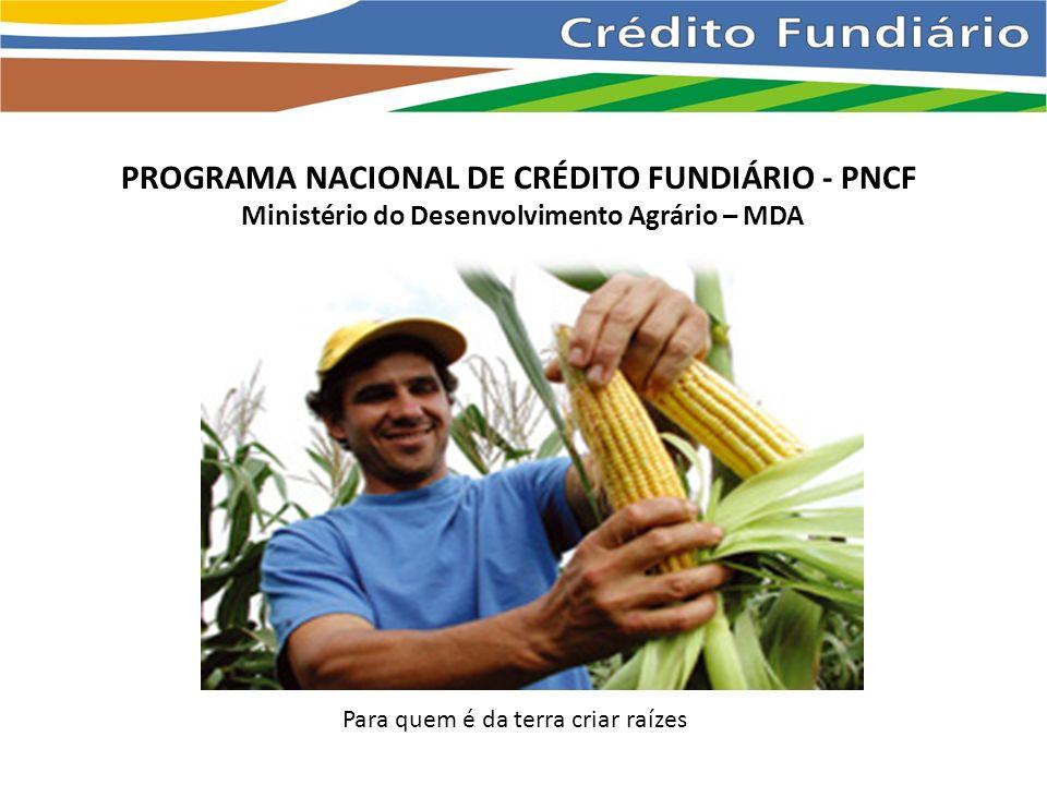 PROGRAMA NACIONAL DE CRÉDITO FUNDIÁRIO - PNCF Ministério do Desenvolvimento Agrário – MDA Para quem é da terra criar raízes