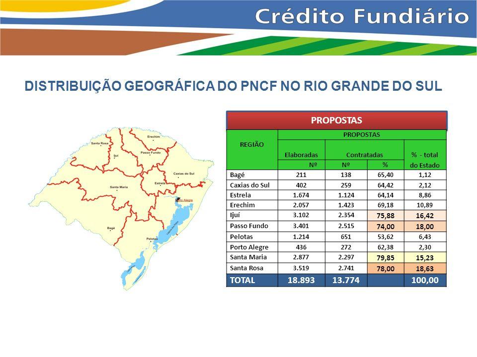 DISTRIBUIÇÃO GEOGRÁFICA DO PNCF NO RIO GRANDE DO SUL PROPOSTAS REGIÃO PROPOSTAS ElaboradasContratadas % - total do Estado Nº % Bagé21113865,401,12 Caxias do Sul40225964,422,12 Estrela1.6741.12464,148,86 Erechim2.0571.42369,1810,89 Ijuí3.1022.354 75,8816,42 Passo Fundo3.4012.515 74,0018,00 Pelotas1.21465153,626,43 Porto Alegre43627262,382,30 Santa Maria2.8772.297 79,8515,23 Santa Rosa3.5192.741 78,0018,63 TOTAL18.89313.774100,00