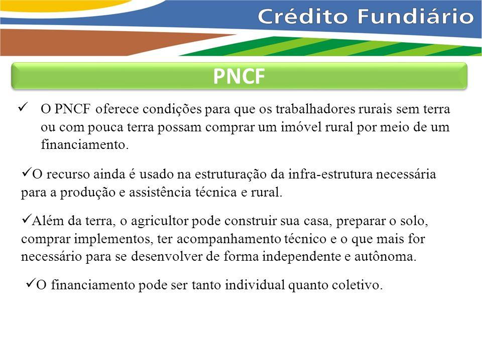 O PNCF oferece condições para que os trabalhadores rurais sem terra ou com pouca terra possam comprar um imóvel rural por meio de um financiamento.