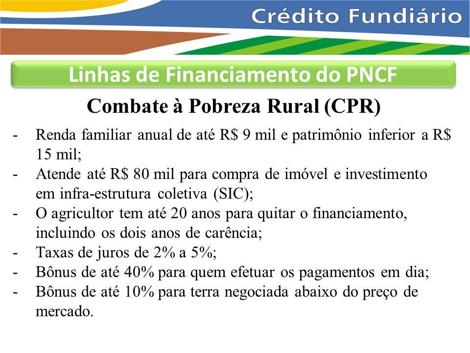 Combate à Pobreza Rural (CPR) Linhas de Financiamento do PNCF -Renda familiar anual de até R$ 9 mil e patrimônio inferior a R$ 15 mil; -Atende até R$ 80 mil para compra de imóvel e investimento em infra-estrutura coletiva (SIC); -O agricultor tem até 20 anos para quitar o financiamento, incluindo os dois anos de carência; -Taxas de juros de 2% a 5%; -Bônus de até 40% para quem efetuar os pagamentos em dia; -Bônus de até 10% para terra negociada abaixo do preço de mercado.