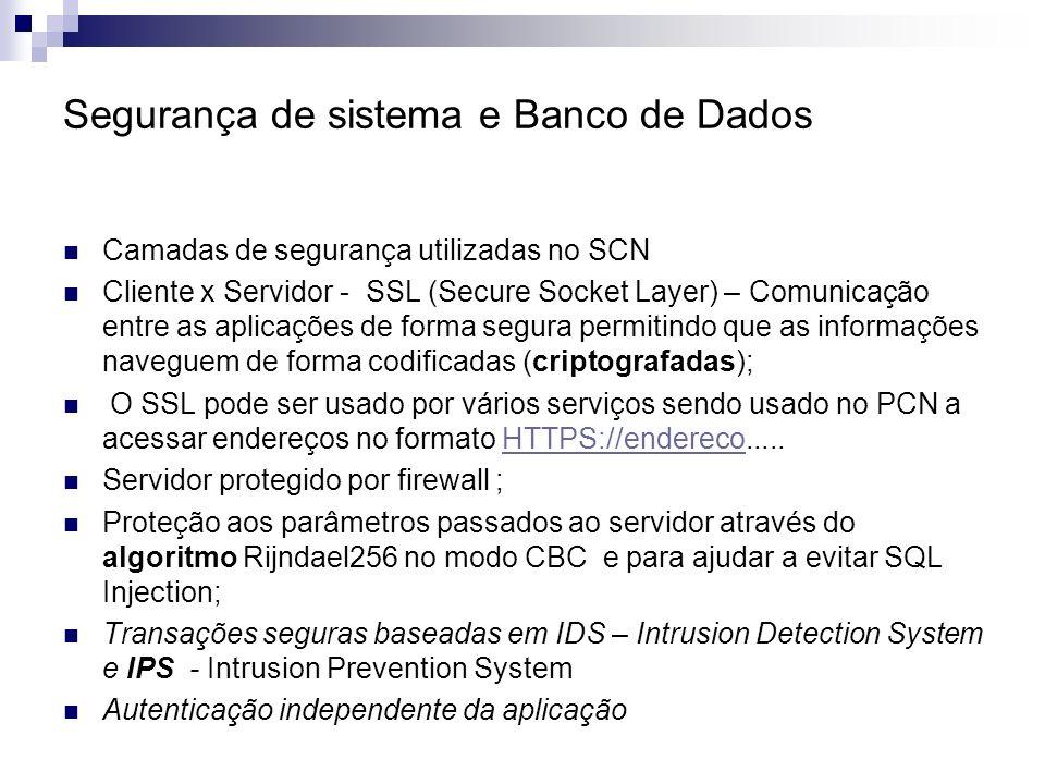 Segurança de sistema e Banco de Dados Camadas de segurança utilizadas no SCN Cliente x Servidor - SSL (Secure Socket Layer) – Comunicação entre as apl
