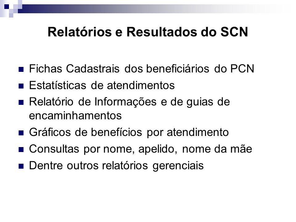 Relatórios e Resultados do SCN Fichas Cadastrais dos beneficiários do PCN Estatísticas de atendimentos Relatório de Informações e de guias de encaminh