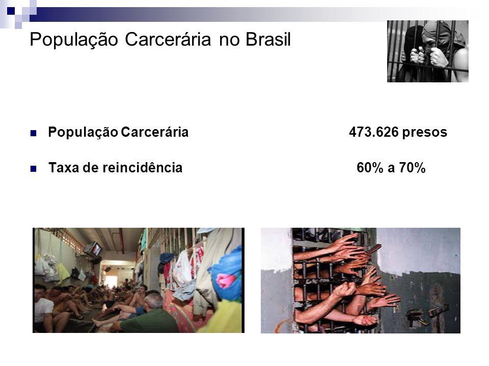 População Carcerária no Brasil População Carcerária 473.626 presos Taxa de reincidência 60% a 70% Fonte: Relatório INFOPEN 2009