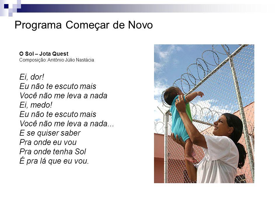 Programa Começar de Novo O Sol – Jota Quest Composição: Antônio Júlio Nastácia Ei, dor! Eu não te escuto mais Você não me leva a nada Ei, medo! Eu não
